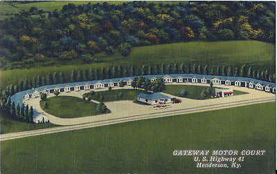 Postcard Kentucky KY Henderson Gateway Motor Court US Hwy 41 Nr MINT 1940s-50s