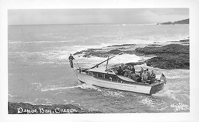 Depoe Bay Oregon~Fisherman's Boat Tarsu-Portland~Man on Stern~1950s RPPC