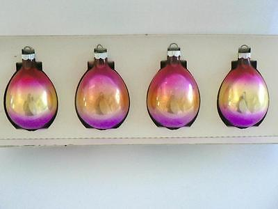 4 SHINY BRITE RAINBOW OMBRE DROPLET TEARDROP PURPLE PINK #2  CHRISTMAS ORNAMENTS