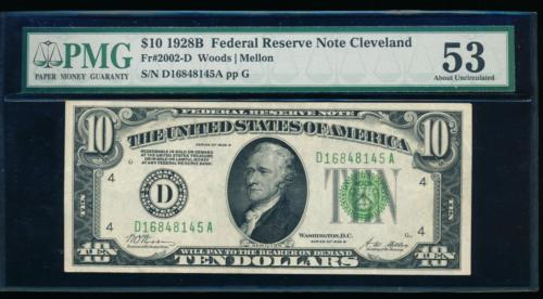 AC 1928B $10 Cleveland FRN PMG 53 Fr 2002-D about uncirculated