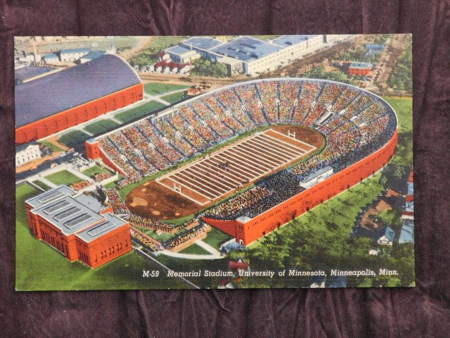 Linen Postcard: Memorial Stadium Minneapolis MN