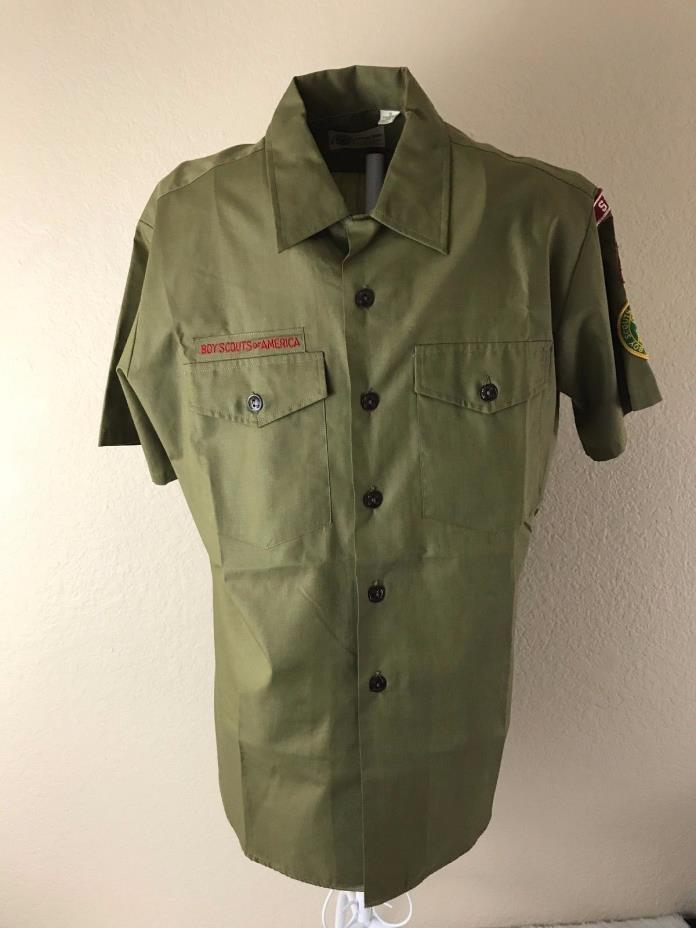VTG Boy Scout of America Short-Sleeve Shirt Official BSA Uniform Olive (H6)
