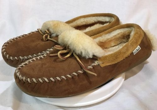 LL Bean Men's Size 11 M Wicked Good Brown Suede Sheepskin Moccasins Slippers