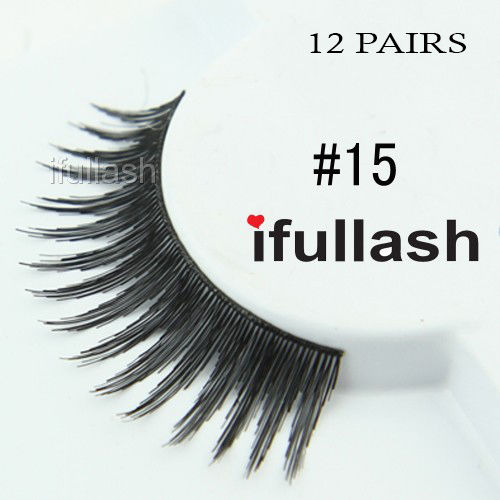 #15 12 Pairs Ifullash 100% BLK Human Hair Eyelashes *US SELLER* Fast Ship!