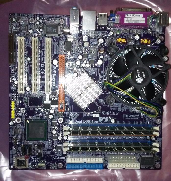865-M7 ECS Motherboard with Pentium 4 and 2GB dual channel memory installed