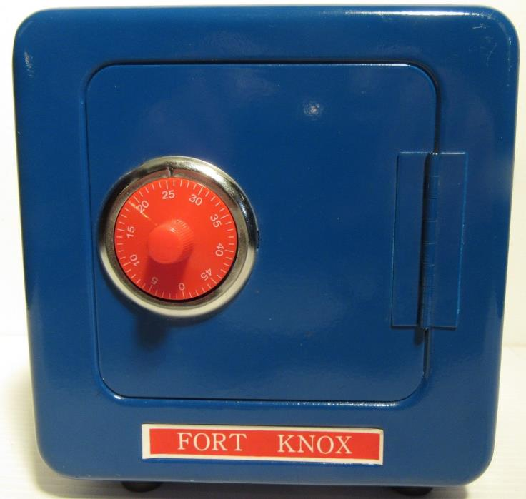 Childs Toy Combination Lock Metal Blue Fort Knox Safe - Works Perfectly!