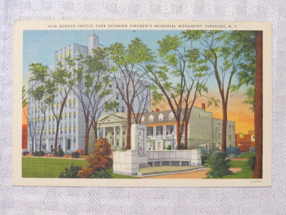 ST74 - Syracuse New York City NY postcard - Firemans memorial monument 1940s