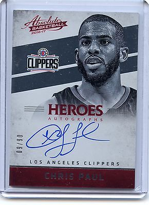 Chris Paul 2016-17 Panini Absolute Heroes On Card Auto Autograph 6/60 Clippers