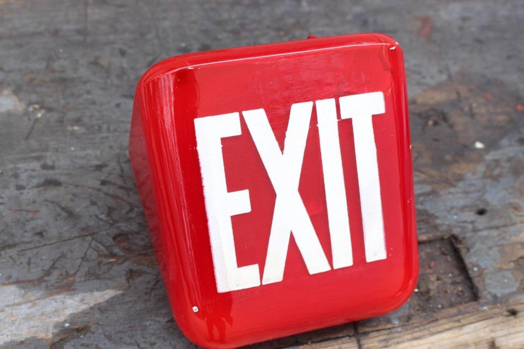 RED Vintage EXIT Sign Glass Lamp Light Theater Art Deco glass globe office