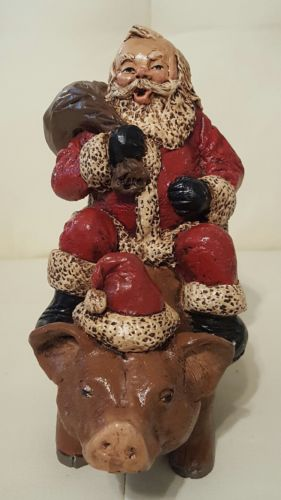 Santa Claus Riding on a Pig Hog Figurine Collectible Christmas artist signed