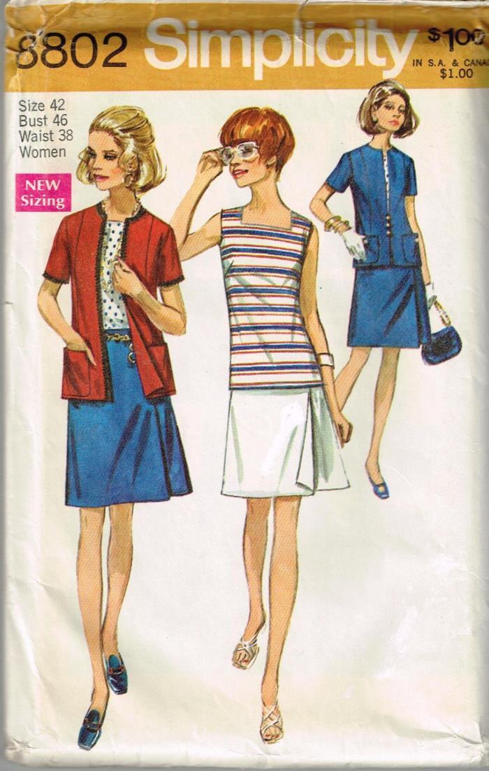 Vtg 1970 PATTERN Women's PANTSKIRTJacket BLOUSE Size 42 UNCUT Simplicity 8802