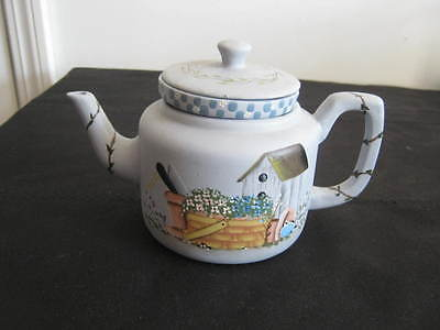 Vintage Pottery Clay Teapot Votive Holder, Shabby Cottage Garden Chic Birdhouse