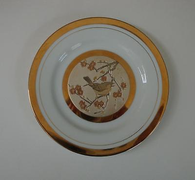JAPAN CHOKIN PLATE BIRD AND BLOSSOMS 1983 BY YOSHINOBU HAKA