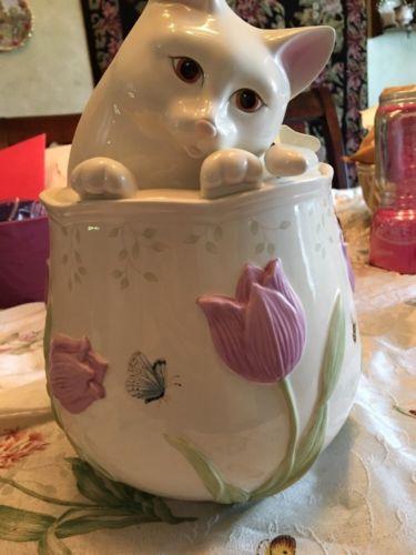 Lenox Butterfly Meadow Kitten Kitty Cat Cookie Jar Item #806729 New No Box