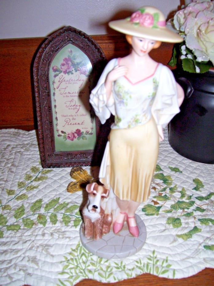 HOME INTERIORS 1940'S WOMAN FIGURINE EMMA AND RALEIGH - DOG 2005