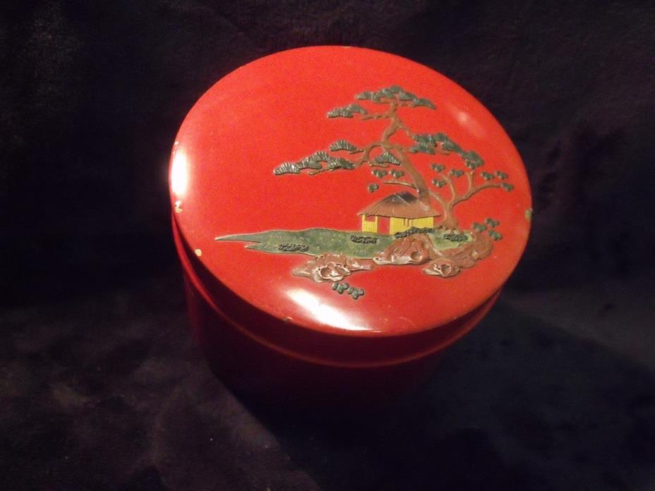 ANTIQUE RED LAQUERED WOOD JAPAN COASTER SET