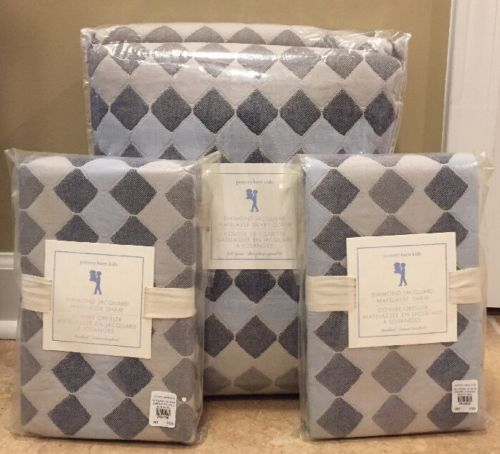 NEW Pottery Barn Kids Diamond Jacquard Matelasse FULL QUEEN Duvet + Shams BLUE