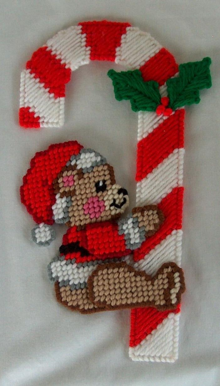 New Handmade Christmas Doorknob Hanger Bear holding onto Candy Cane