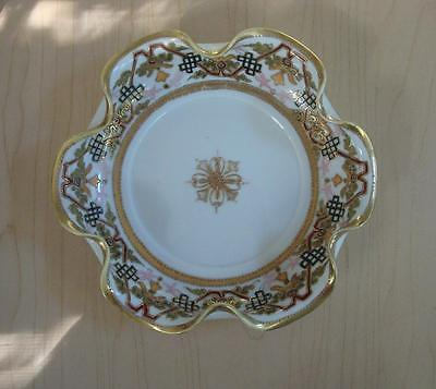 NIPPON RMC HAND PAINTED DISH W/RUFFLED EDGES ~ GOLD BEADED TRIM