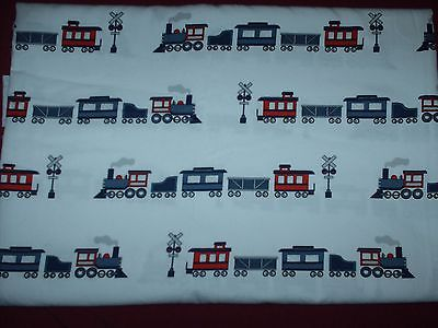 LITTLE RED CABOOSE Twin Size Flat sheet with Trains   EUC