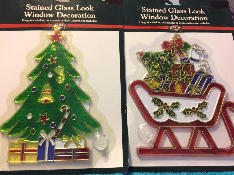 STAINED GLASS LOOK WINDOW DECORATIONS:  ****SLEIGH & CHRISTMAS TREE****