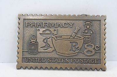 Vintage 1972 8¢ Pharmacy United States Postage Commemorative Stamp Belt Buckle