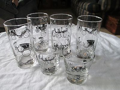 Libbey Glasses Vintage Horseless Carriage Buggy Horse 6 Glasses Tumblers