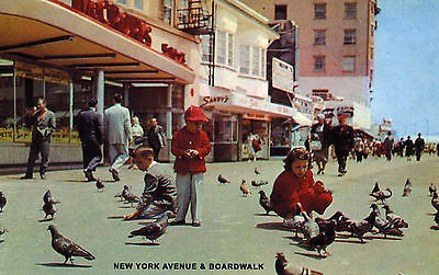Historic Atlantic City Picture Postcard  --  New York Avenue & Boardwalk