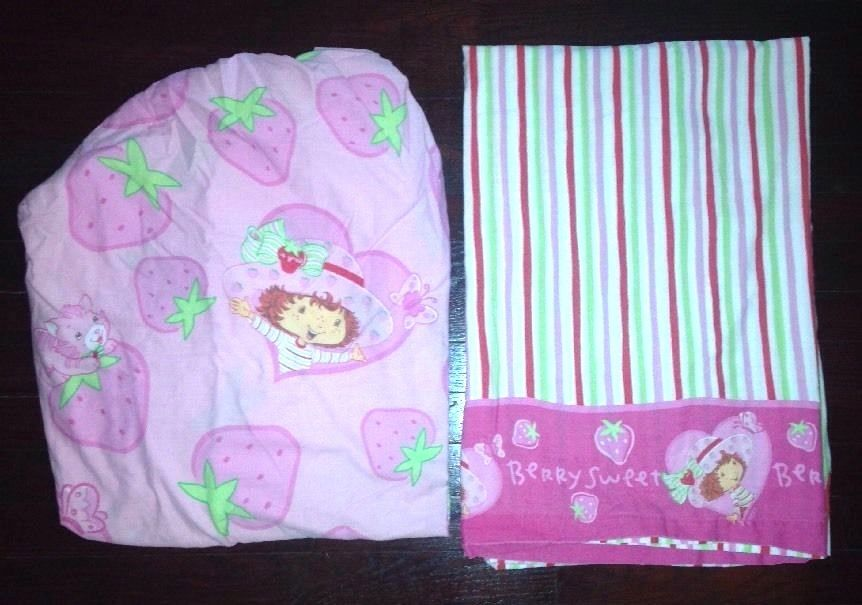 VTG STRAWBERRY SHORTCAKE TWIN SET FITTED FLAT SHEETS pink 80s Cartoon Doll EUC