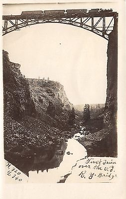 Terrebonne Oregon~First Train Crosses Oregon Trunk Railroad Bridge~c1910 RPPC