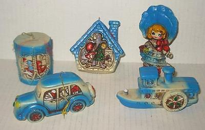 Vintage Christmas Ornament Set Molded Plastic Blue White Car Boat House Drum Dol
