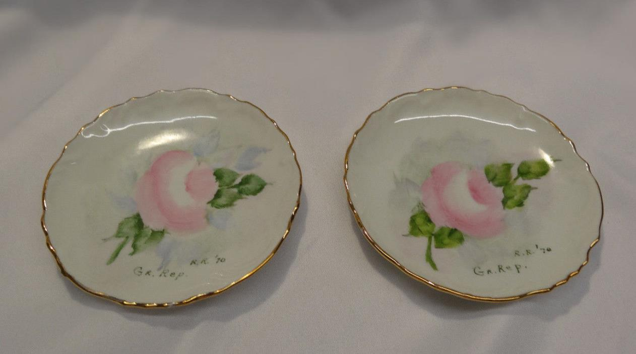 Vintage Lot 2 Wall Plates Pink Roses & Gold Trim Signed r. r. 1970 GR. Rep.  '70