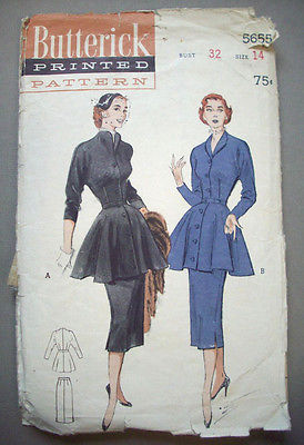 1940's Flaring Tunic dress pattern 5655  Size 14