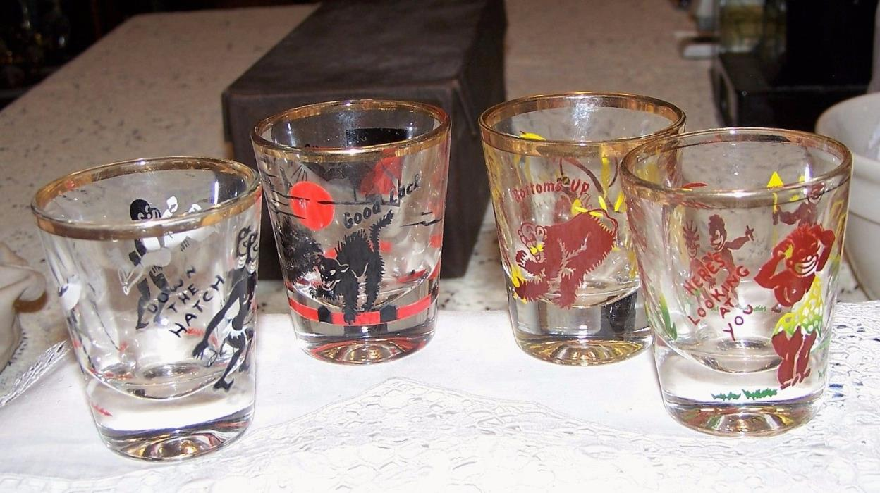 Boxed RUMPUS SET GLASS Whiskies SUPER GRAPHICS Black Americana and Halloween