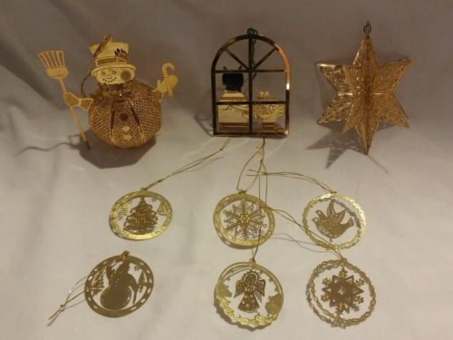 vintage brass/filigree christmas ornaments mixed lot-Baldwin brass 1996 snowman