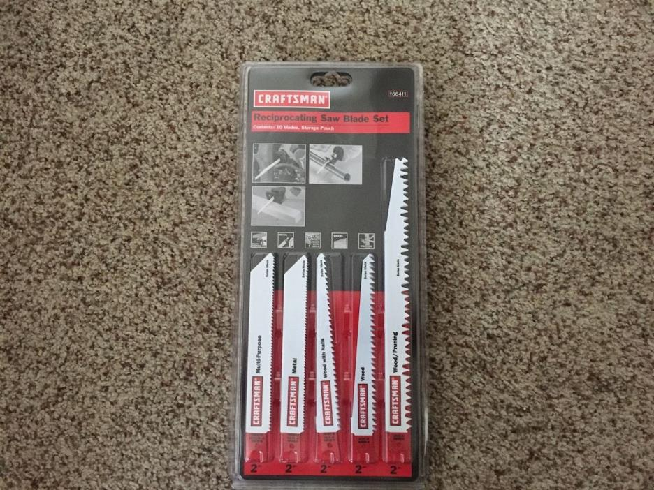 Craftsman 9-66411 Reciprocating Saw Blade Set with Storage Pouch, Bi-Metal NEW
