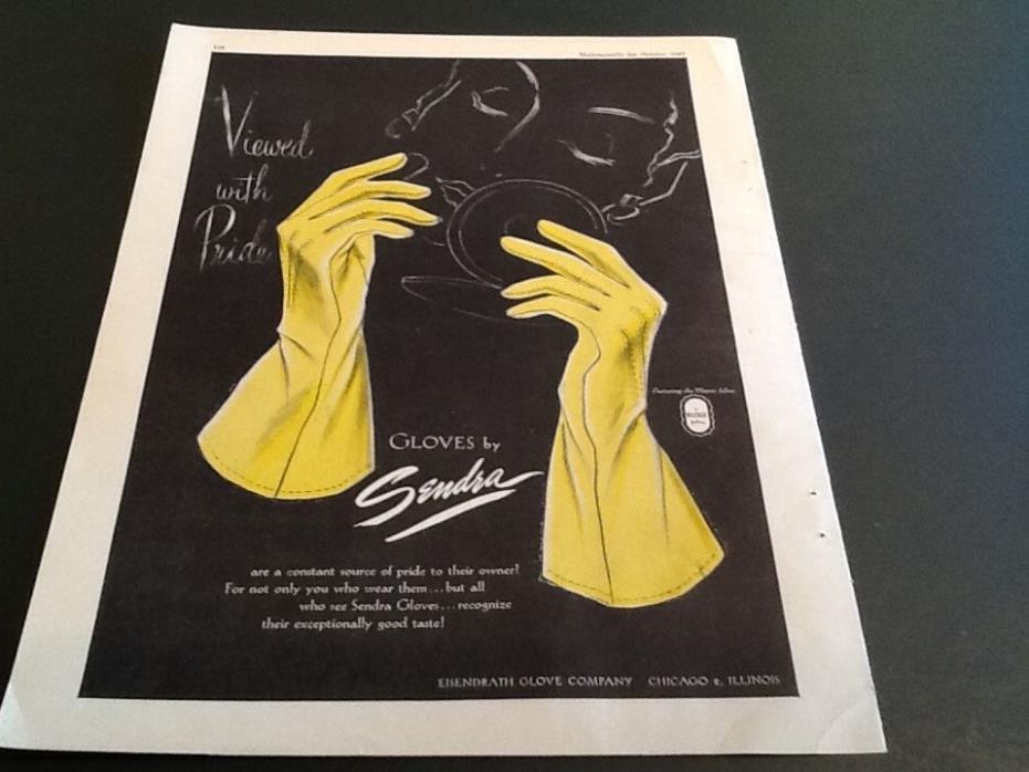 1947 SANDRA Gloves EISENDRATH Co Chicago ART Vintage Magazine Print AD