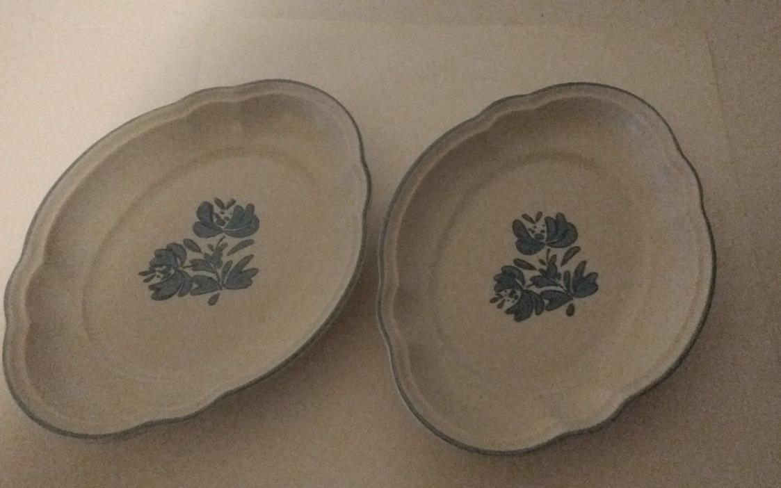 Set of 2 Vintage Pfaltzgraff Yorktowne Oval Scallop Dishes~Relish or Side Dish