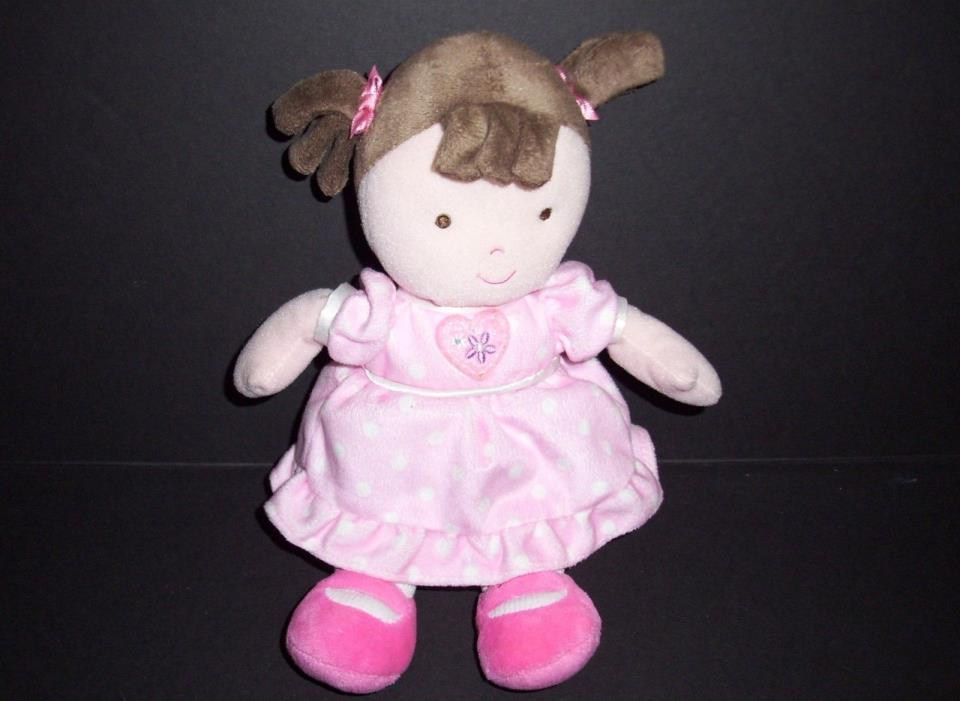 Child Of Mine Pink White Polka Dot Dress Brown Pigtails Hair Doll Heart Rattle