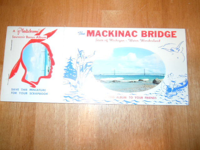 Vintage Souvenir Bonus Album Mackinac Bridge Michigan 1959