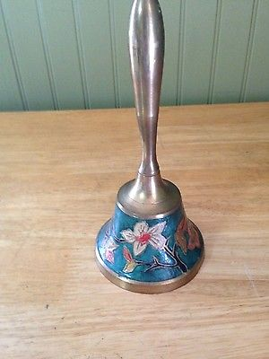 Vintage Brass Floral Hand Painted Long Handle Bell