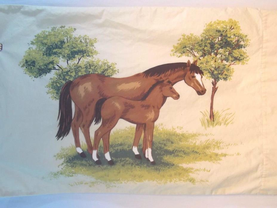 Vintage Domestications HORSE and Pony Standard/Twin Pillowcase Equestrian