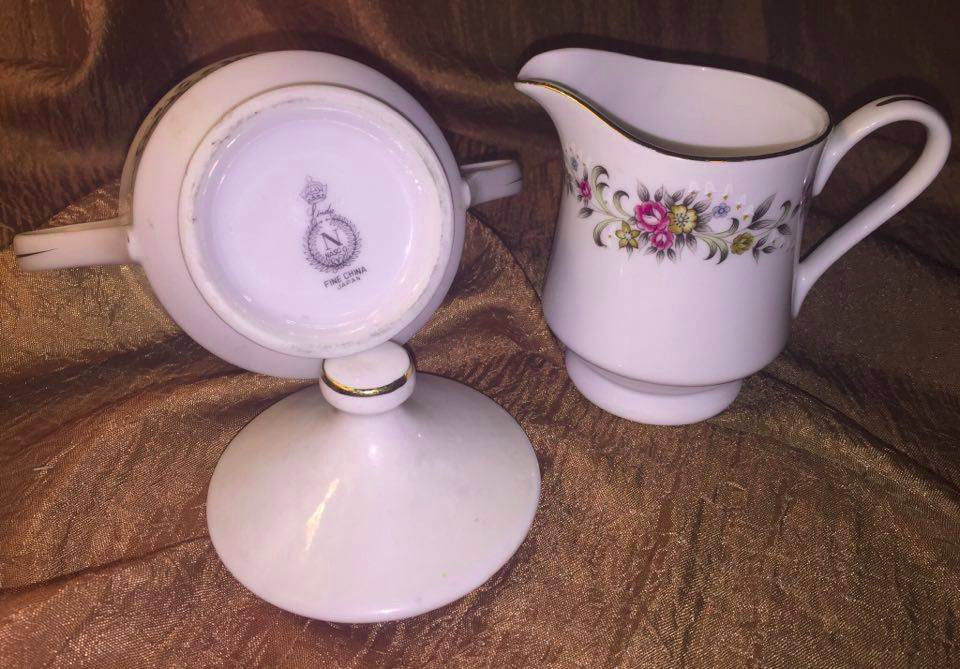 Fine China Nasco Rose Ann Cream & Sugar Set ~ Beautiful Pink Rose and Leaves