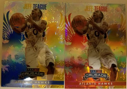 2013-14 Crusade Jeff Teague #29 Red/Yellow /349 &  Blue/ Yellow Lot *Hawks