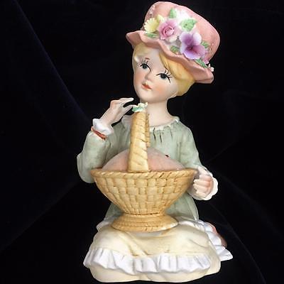 Vintage Ardalt Pin Cushion Porcelain Girl w Pink Bonnet & Basket 6.5