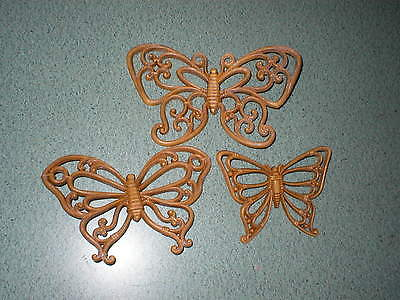 Vtg Homco Syroco Set of 3 BUTTERFLY Wall Plaques Golden Brown Bamboo Wood Tone