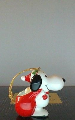 Vintage Peanuts Snoopy With Small Santa Sack Chirstmas Ceramic Ornament