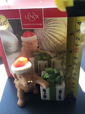 Lenox Christmas Dog with Present Salt And Pepper Shaker Set - New In Box