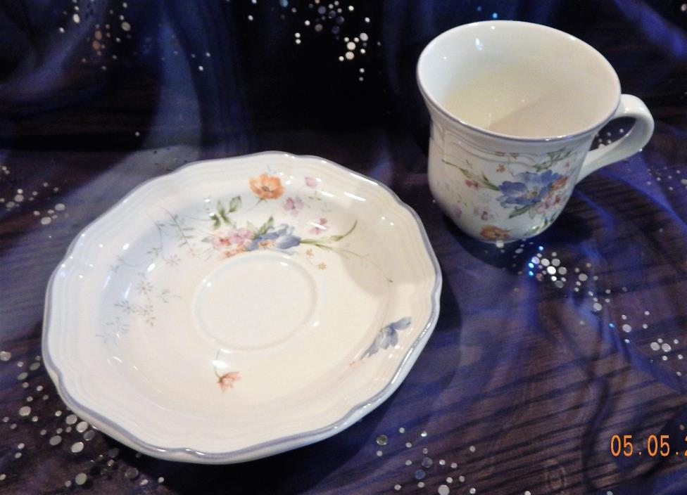 Mikasa French Countryside Blue Bouquet Cup and Saucer