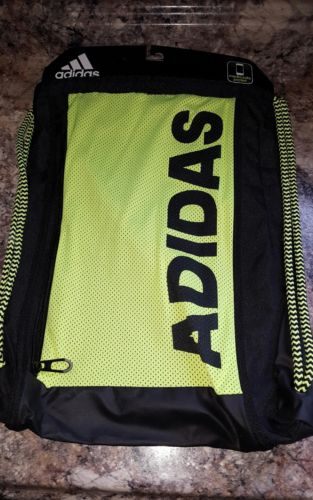 Adidas Backpack Cinch Sack Throttle Sack pack New w media safe pocket neon green
